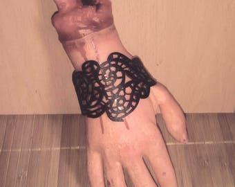 punk ethnic hippie black die-cut leather bracelet bracelet Wristband