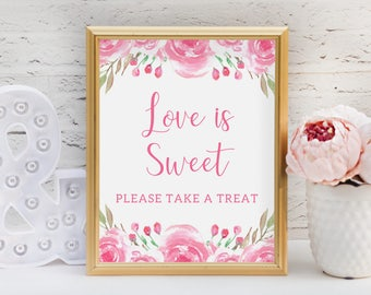 Pink Love is Sweet Please Take a Treat Sign / PRINTABLE Bridal Shower Sign / Floral Pink and White / Pink Floral Bridal Shower Decor / 001