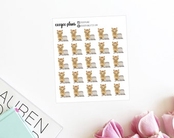 Long-Haired Yorkie Planner Stickers | 25 Dog Stickers for ANY Planner | Yorkshire Terrier Stickers