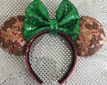 Inspired Gingerbread Christmas / Holiday Minnie / Mickey Mouse Ears
