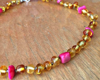 Hot Pink Baby Teething Necklace, Girly Baltic amber teething necklace, pink coral, round amber teething necklace, pink amber, baby girl gift