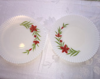Translucent milk glass dinner  plates with hand painted floral design