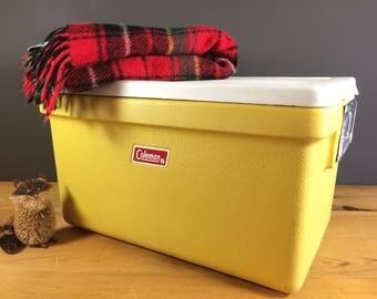 Vintage Coleman Cooler / Vintage Camping Cooler / Yellow Retro Cooler / Vintage Coleman Camping Gear