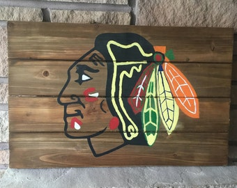 Chicago Blackhawks Wood Sign