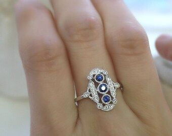 18K solid gold three round sapphires and diamond art deco ring