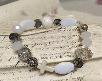 White Silver Crystal Pearly Stretch Bracelet Bohemian Elegant Howlite Cross Silver Rosette Stack Womens Bracelet Handmade Jewellery