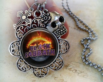 Black Sabbath Necklace w-Cross and Skull Charms, The End Tour, Heavy Metal Music, Black Sabbath Gift, Birthday Gift, Sabbath Rocks! Gothic