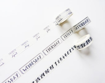 Month, Days of the Week, Number Washi Tape/ Masking Tape / Craft Supplies / Gift Wrapping / Planner Accessories