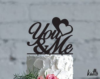 You and Me Cake Topper for Wedding,You and Me Glitter Wedding Cake Topper,Script You & Me Cake Topper,Elegant cake topper, Heart Cake Topper