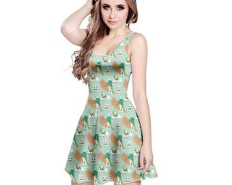 Rowlet Dress - Skater Dress Rowlet Dress Decidueye Dress Pokemon Evolutions Dress Pokemon Sun Moon Dartrix Dress Plus Size Cosplay
