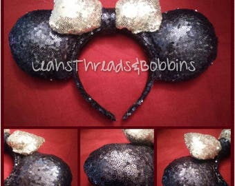 Sequined Mickey Ears (Navy and Silver Combo)
