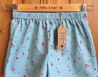 shorts, girls shorts, baby girls shorts, girls clothing, baby girls clothing, summer shorts, blue shorts, girls summer clothes