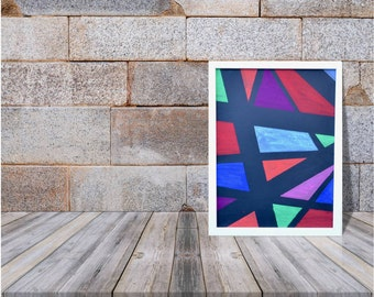 Geometric Pastel Painting, Abstract Original Modern Art, Office Wall Decor, Home Decor Gift, Chalk Pastel Drawing, Multi-coloured Picture