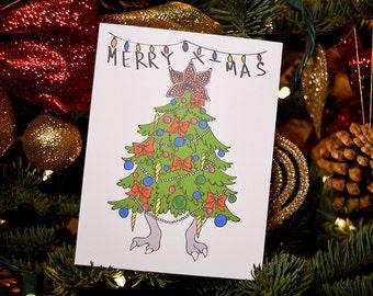 Demogorgon Christmas Tree Card -Stranger Things, Christmas Card, Stranger Things Christmas Card, Demogorgon, Pop Culture Christmas Cards