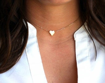 Dainty Heart Choker Necklace | Dainty Gold Heart Choker Necklace | Dainty SILVER Heart Choker Necklace |  GOLD or SILVER dainty choker