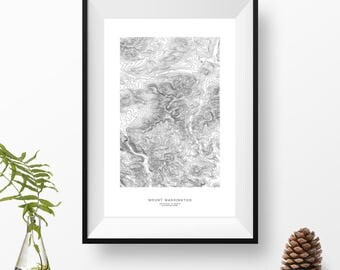 Mount Washington, New Hampshire | Topographic Print, Contour Map, Map Art | Home or Office Decor, Gift for Wilderness Lover or Hiker