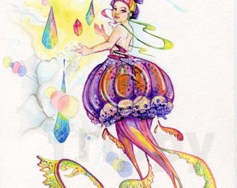 Lucy in the Sky with Diamonds watercolor print