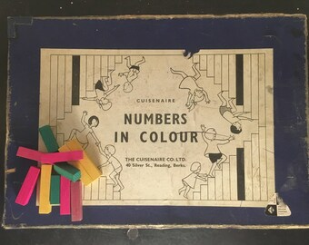 Vintage 1950s Cuisenaire Rods Numbers in Colour