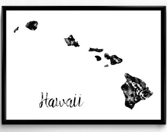 Map of Hawaii, United States of America, Black and White Map, Travel, Watercolor, Room Decor, Poster, gift, Printable Wall Art (743)