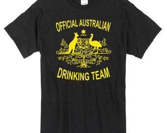 Official Australian Drinking Team T-Shirt black 100% cotton australia aussie beer party