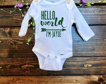 Hello World Onesie | Handmade | New Baby Onesie | Just Born Baby