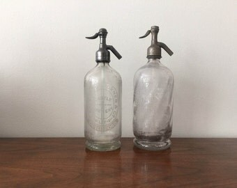 Two Vintage Glass Seltzer Bottles