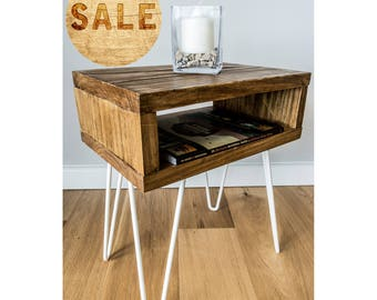Rustic Solid Wood Side Table with 2 Prong 35cm Metal Hairpin Legs