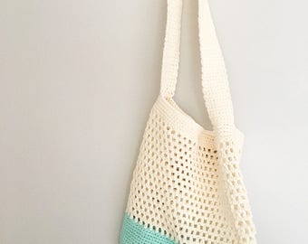 Market / Beach Bag in Cream and Mint