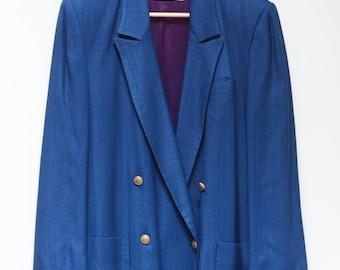 Vintage 1980s Blue Ladies JH Collection Blazer Gold Buttons--Womens Blazer Retro Jacket Shoulder Pads