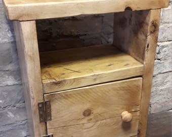 Handmade reclaimed wood bedside table side table rustic