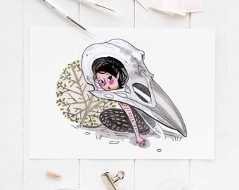 fairy art print, fairies, fairy print, skulls, bird skull art, fairy gift, art print, woodland theme, illustration, fairytale, folklore art