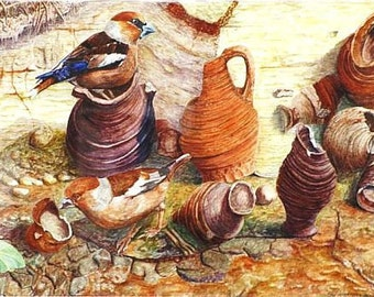 Fine art painting, watercolor, birds, Monte testatio
