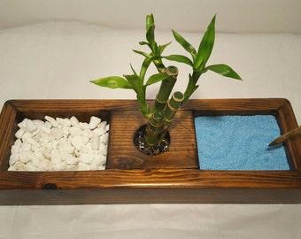 READY TO SHIP Zen Garden Kit, Zen Garden, Rock Garden, Sand Garden, Japanese Rock Garden, Meditation Garden, Tranquility  Desktop Zen Garden