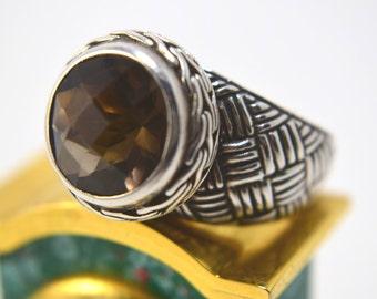 Smoky Quartz Ring - Smoky Quartz Round Cut Ring - Quartz Ring size 9 - Smoky Quartz Jewelry - Quartz Ring - Sterling Silver Ring - 925