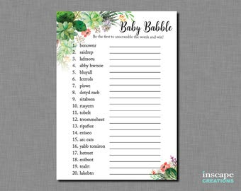 Succulent Word Scramble Baby Shower Game, Garden Country Floral Rustic Baby Babble Game, Elegant Flowers Cute Unique Baby Shower Activity