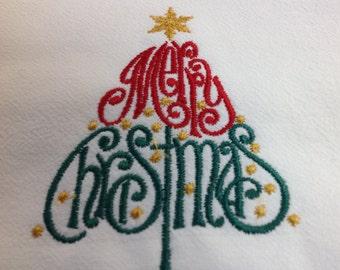 Merry Christmas flour sack dish towel