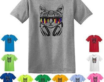 Headphone Cat, Cat Shirts, cat T-shirt, cat gifts