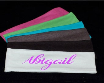 Stretchy Personalized monogrammed custom cotton headbands 2.5""