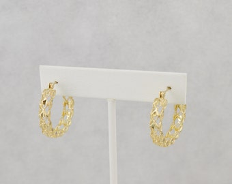 14K Estate Yellow Gold Filigree Hoop Earrings 5.4 Grams