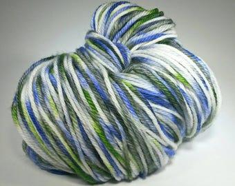 CROCUS, Hand Dyed DK Yarn, Indie Dyed Merino DK, Superwash Merino, Purple Green White Yarn, Spring Yarn Colors, dk Weight Yarn