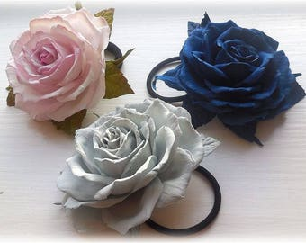 Bridal rose hair Flower hair clip and brooch Hair clip rose Bridal flower Hair clip blue Brooch Rose Flower Headpiece Pink Flower Grey Gift