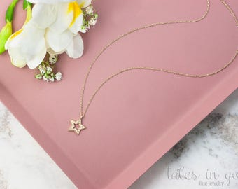Diamond Star Necklace, 14k Gold Necklace, Yellow Gold, Diamond Necklace, Gold Diamond Star, 14k Diamond Charm, Layering Necklace, Gold Star