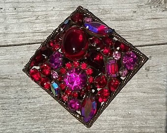Signed Weiss Vintage Pink and Red Brooch-Vintage Weiss Rhinestone-Ruby Rhinestone Brooch-Aurora Borealis Rhinestone Brooch-Free Shipping
