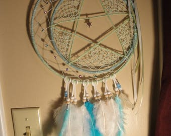 Seafoam green moon and stars dreamcatcher