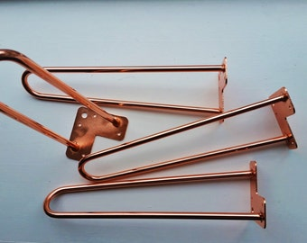 """Copper Plated Hairpin Coffee Table Legs 16"""" Set of 4"""