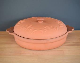 Casserole dish, terra cotta, earthenware, redware, lidded, round, clay