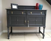 Rustic Antique Edwardian Hand Painted Oak English Sideboard Buffet