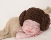 Princess Leia Baby Hat Star Wars Leah Hair Wig Hamdmade Crocheted Knitted Newborn Toddler Photo Prop