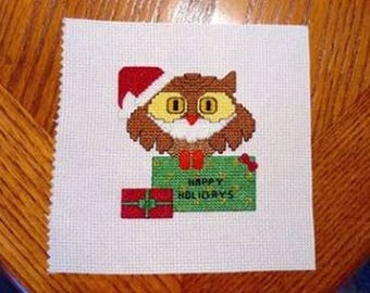 SANTA OWL Christmas Counted Cross Stitch Pattern / Chart - Create Your Own Christmas / Holiday Cards - holiday design