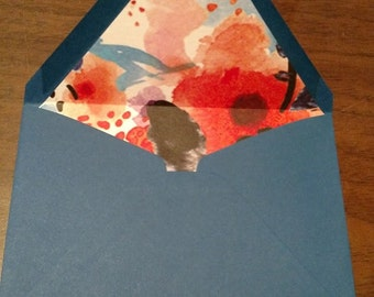 blue floral lined envelopes